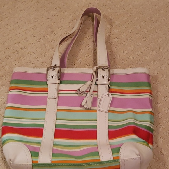 1cfdea15f69d Coach Hamptons Striped Tote